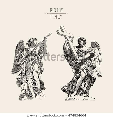мрамор статуя ангела крест моста Рим Сток-фото © Dserra1