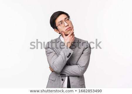Stok fotoğraf: Işadamı · düşünme · oturma · yalıtılmış · beyaz · adam