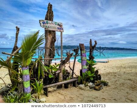 Plage signe île Philippines bois Photo stock © travelphotography