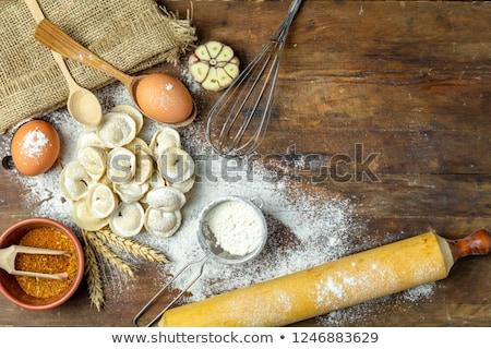 Friss tortellini tányér hozzávalók konyha zöld Stock fotó © Moradoheath