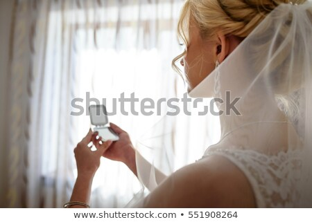 jeunes · mariée · miroir · matin - photo stock © dashapetrenko
