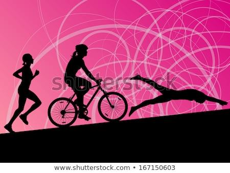 Kadın maraton koşucu toplama ayarlamak Stok fotoğraf © patrimonio