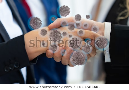 Stock fotó: Fertőzés · robot · kéz · tart · edény · baktériumok