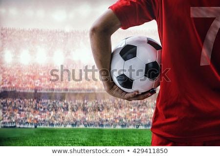 decepcionado · futbolista · mirando · hacia · abajo · blanco · hombre · fútbol - foto stock © wavebreak_media