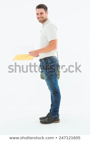 Glimlachend man zijaanzicht portret brief baan Stockfoto © wavebreak_media