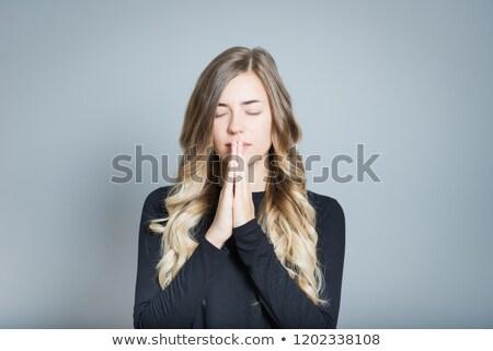 Csinos szőke nő imádkozik fehér nő kezek Stock fotó © wavebreak_media