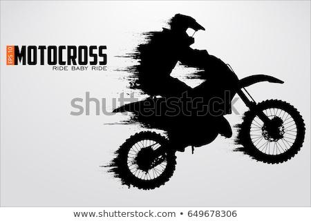 motocross dirt bikes silhouette stock photo © jeff_hobrath