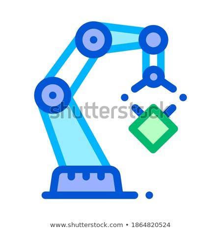 Pump jack oil crane thin line icon Stock photo © RAStudio