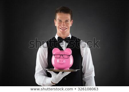 Komornyik tart tálca persely portré boldog Stock fotó © AndreyPopov