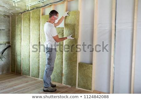 ásvány gyapjú szigetelés ház építkezés munka Stock fotó © jarin13
