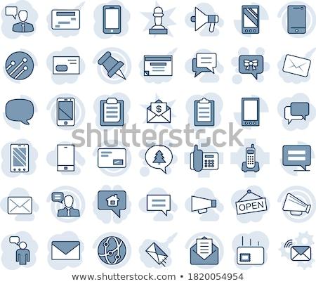 Hangszóró kék vektor ikon terv digitális Stock fotó © rizwanali3d