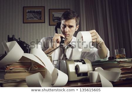 könyvelő · retro · titkárnő · klasszikus · számológép · fából · készült - stock fotó © lunamarina
