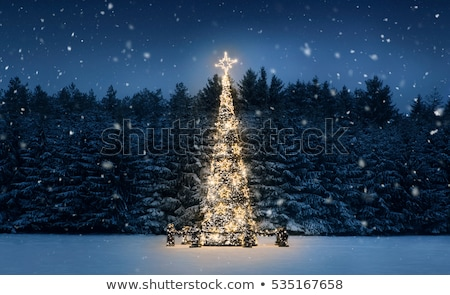 Branches of a Christmas tree with falling snow. New Year Stock photo © Valeriy
