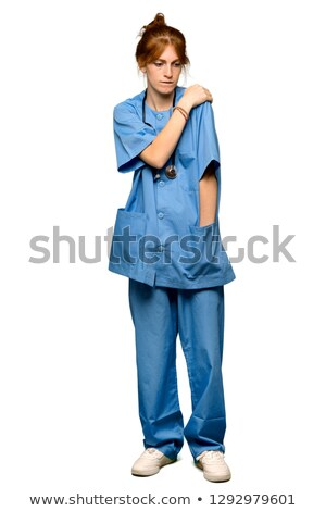 Zdjęcia stock: Woman Suffering From Shoulder Pain Over White Background
