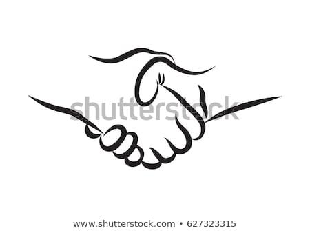 handshake · icône · ombre · bleu · main · signe - photo stock © pakete