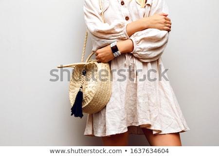 Stockfoto: Vrouw · jurk · geïsoleerd · witte · meisje