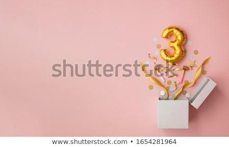 Derde verjaardag kaars cake voedsel witte Stockfoto © ivonnewierink