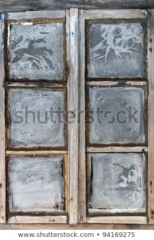 Oude bevroren venster vallen sneeuw huis Stockfoto © Valeriy