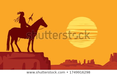 indian · tribu · coucher · du · soleil · illustration · homme · nature - photo stock © adrenalina