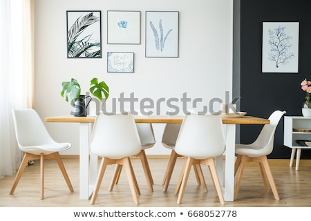stylish dining room with green table stock photo © jrstock