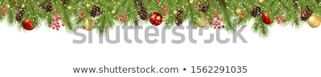 Сток-фото: Christmas Branches With Golden Baubles Eps 10
