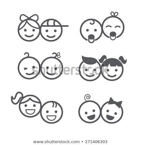 Boldog gyerek ikon család arc gyermek Stock fotó © kiddaikiddee