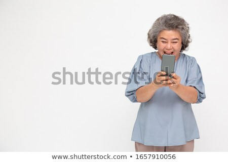 Asiático senior mulher feliz feminino estúdio Foto stock © yongtick