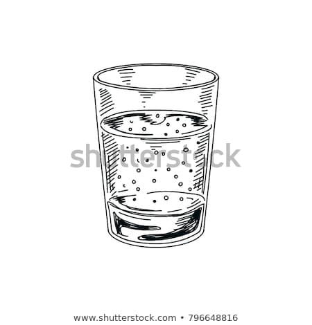 Szkła wody lodu szkic ikona internetowych Zdjęcia stock © RAStudio