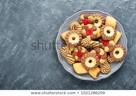 Választék sütik házi készítésű karácsony tányér étel Stock fotó © Digifoodstock