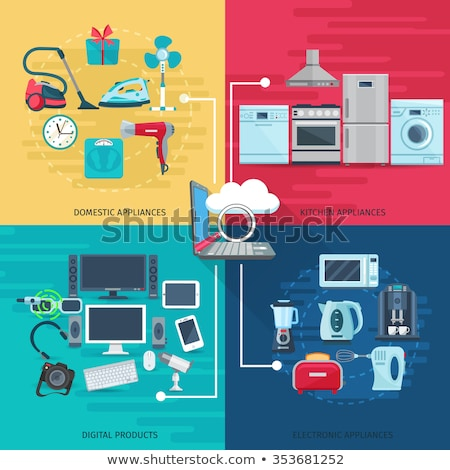 flat design icon of electric industrial dryer stock photo © angelp