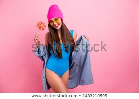 portret · vrolijk · meisje · zonnebril · lolly - stockfoto © deandrobot