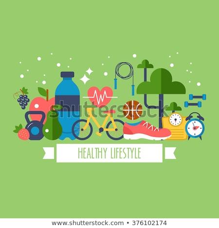 Egészséges életmód vektor egészséges életmód szalag egészségügy wellness Stock fotó © vectorikart