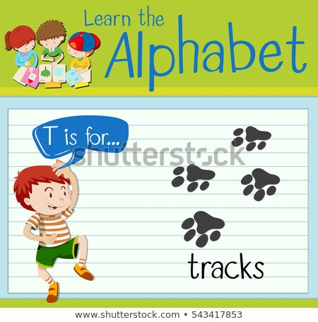 Flashcard letter T is for tracks Stock photo © bluering