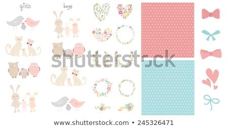 baby girl shower card with little cat stock photo © balasoiu