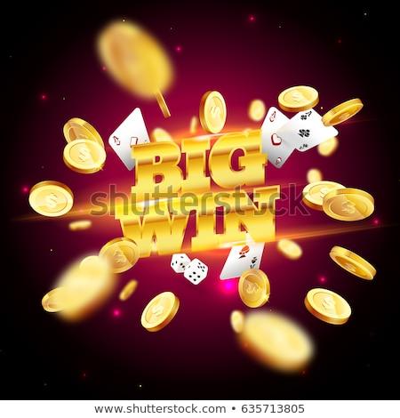 Poker kartları altın madeni para para kulüp Stok fotoğraf © carodi
