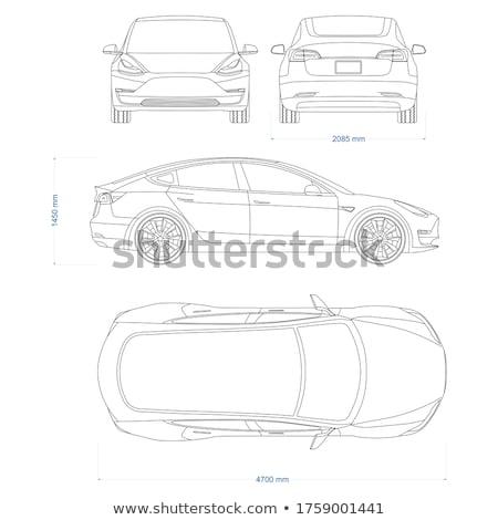 Sedan araç üst yandan görünüş beyaz araba Stok fotoğraf © bluering