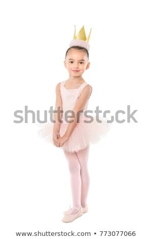 かわいい · シアン · バレリーナ · 少女 · 孤立した · 白 - ストックフォト © bluering