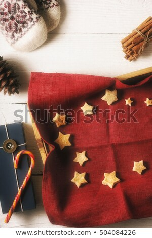 Christmas cookies on the red napkin with different accessorizes vertical Stock photo © Karpenkovdenis