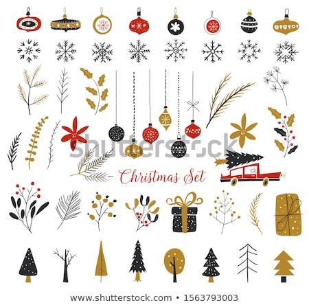 Karácsony elemek szett új év terv tipográfiai Stock fotó © Genestro
