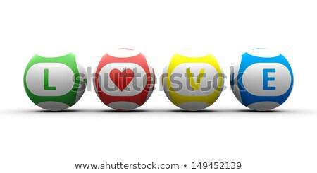 Rood bingo bal Valentijn hart 3d illustration Stockfoto © elaine