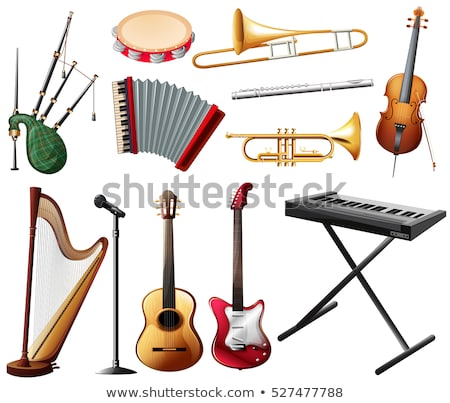különböző · hangszerek · fehér · illusztráció · zene · gitár - stock fotó © bluering