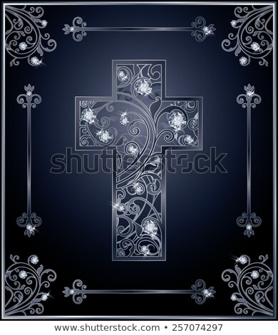 Diamond catholic cross card, vector illustration Stock photo © carodi
