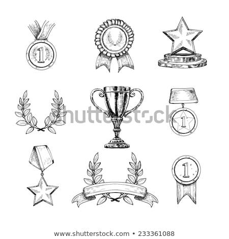 Medalha primeiro lugar esboço ícone vetor isolado Foto stock © RAStudio