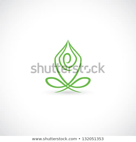 Healthy human health care symbol. Woman in yoga pose and abstrac Stock photo © Tefi