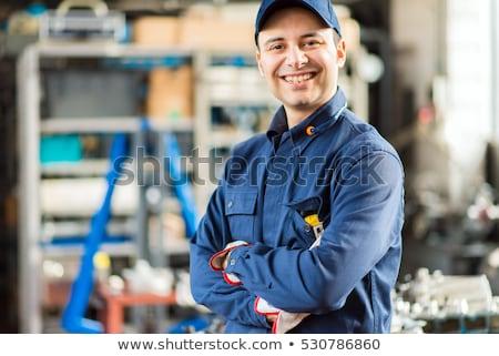 Foto stock: Mantenimiento · hombre · caminando · escalera · construcción · trabajador