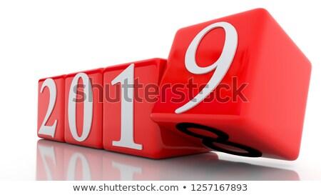 december · 3D · kockák · piros · levelek · tél - stock fotó © nasirkhan