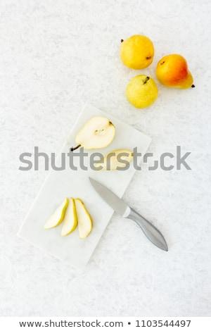 Stock fotó: Egész · szeletel · körték · fehér · gyümölcs · friss