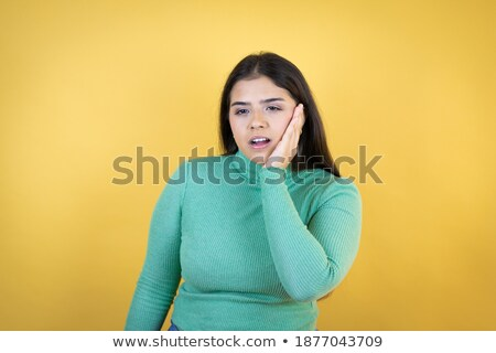 Сток-фото: Closeup Of Woman In Strong Toothache Pain With Hands Over Face