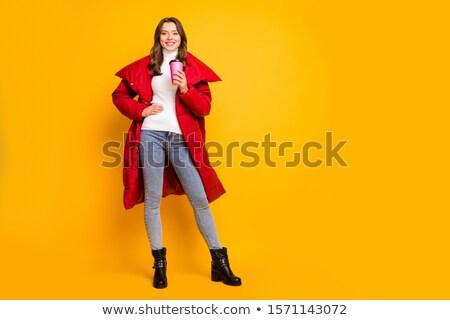 фото красоту женщину пальто волос Сток-фото © konradbak