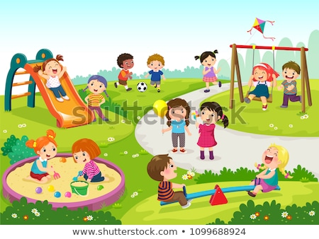 Copiii Se Joacă Parc Vector Desen Animat